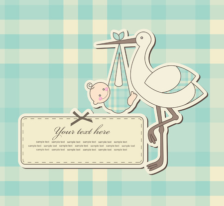 baby announcement card: baby boy announcement card. vector illustration