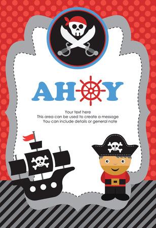 sombrero pirata: diseño de la tarjeta del partido del pirata. ilustración vectorial