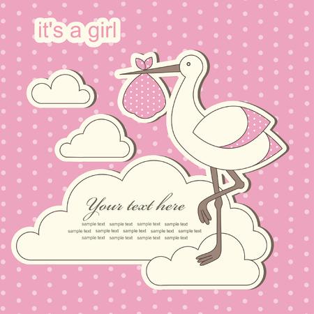 sweet baby girl: baby girl announcement card. vector illustration