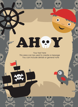 pirate party card design. vector illustration Vector