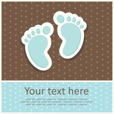 kid feet: carte d'annonce de b�b� gar�on. illustration vectorielle Illustration