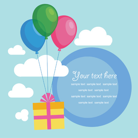 gift with balloons. cute frame design. vector illustration Vector