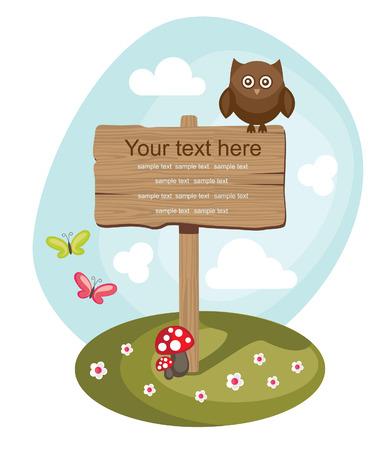 pane: wooden board over cute nature scene. vector illustration Illustration