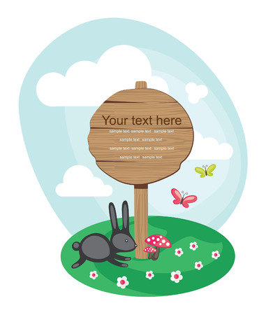 eco notice: wooden board over cute nature scene. vector illustration Illustration