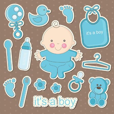 Elementos lindos del bebé. ilustración vectorial