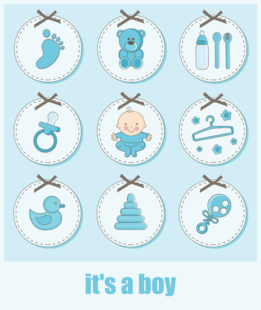 set of baby boy objects. vector illustration