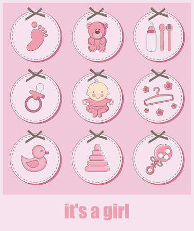 set of baby girl objects. vector illustration