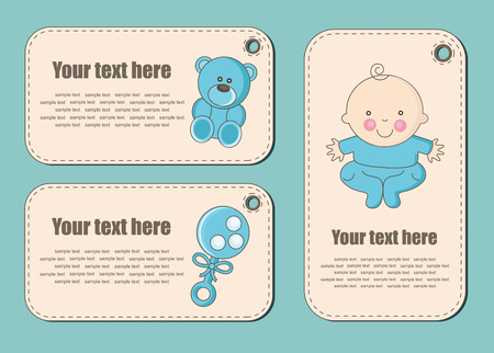 baby rattle: cute baby boy stickers. vector illustration Illustration