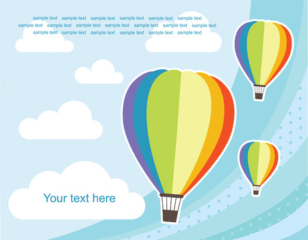 hot frame: abstract background with air balloon. vector illustration