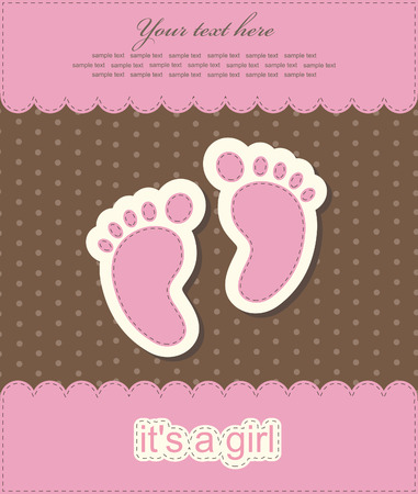 girls feet: baby girl announcement card. vector illustration