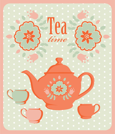 vintage card with tea pot.  Vector