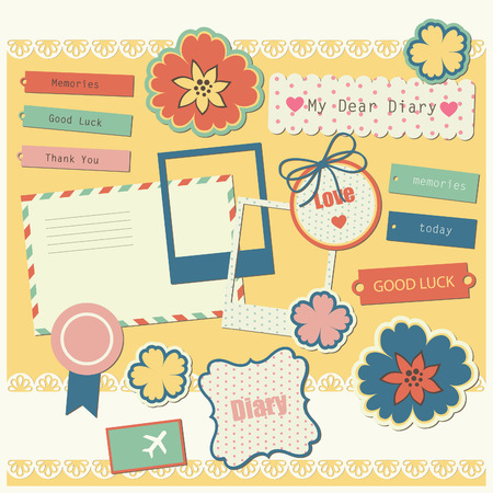 cute elements for scrapbooking.  Vector