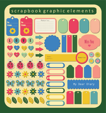 set of cute scrapbook elements. Vector