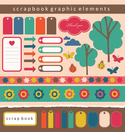 butterfly stationary: set of cute scrapbook elements.