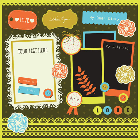 set of cute scrapbook elements. Vector