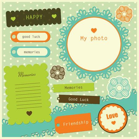 set of cute scrapbook elements.
