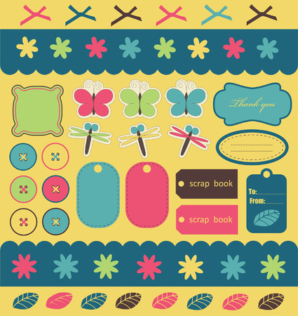 butterfly stationary: cute elements for scrap-booking.  Illustration
