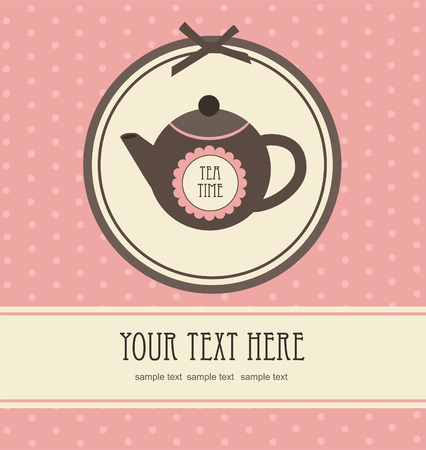 teatime: vintage card with teapot. vector illustration