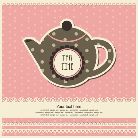 vintage card with teapot. vector illustration Vector