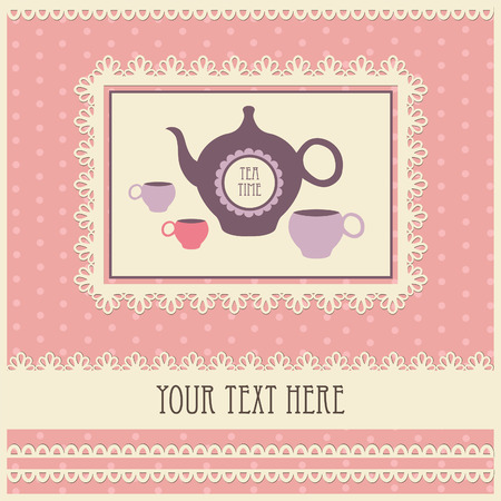 vintage card with teapot.  Vector