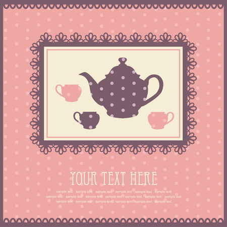 vintage card with teapot Vector