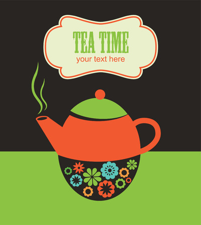 time frame: cute tea time card. Illustration