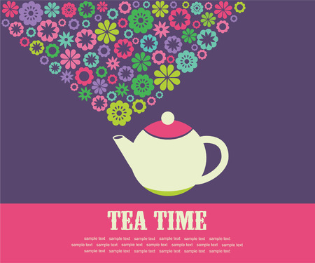cute tea time card.  Vector