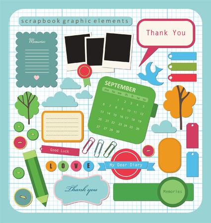 calendario escolar: cute elementos para scrapbooking. Vectores