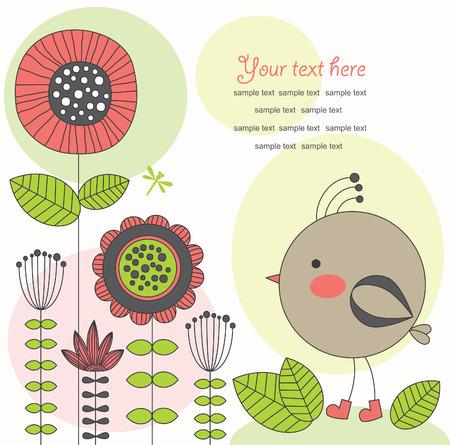 cute card with bird.