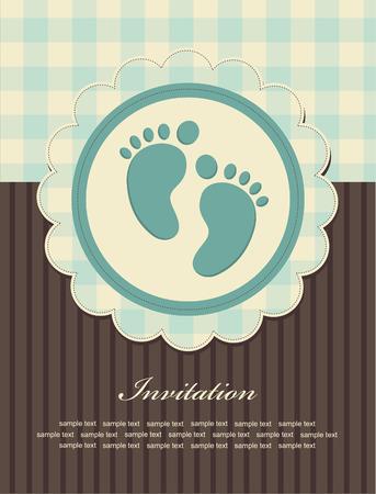 boy feet: baby boy announcement card.  Illustration