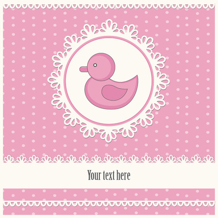 baby announcement card: baby girl announcement card. Illustration