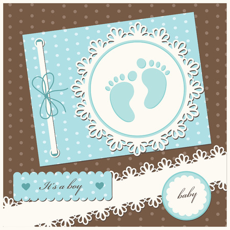 flayers: baby boy announcement card.  Illustration