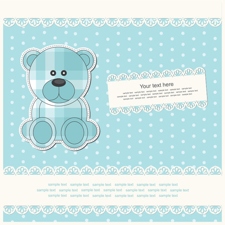 baby announcement card: baby boy announcement card.  Illustration