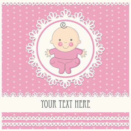 aankondigingskaart van het babymeisje. Stock Illustratie