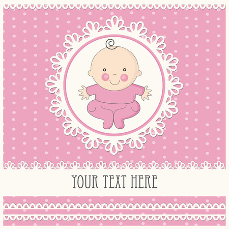 baby girl announcement card.  Vector