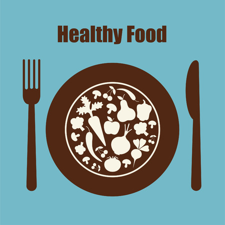 plate of food: healthy food icon.