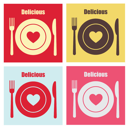 plate of food: set of cook cards. Illustration