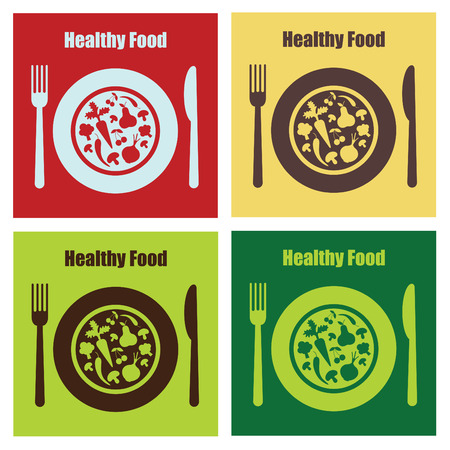 set of healthy food cards.  Vector