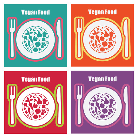 consept: set of vegetarian food cards.