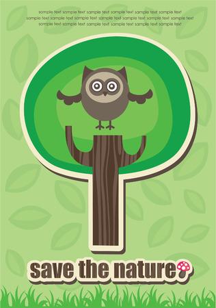 lone tree: ecology card.  Illustration