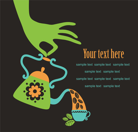 feminine hand with cute teapot. Vector