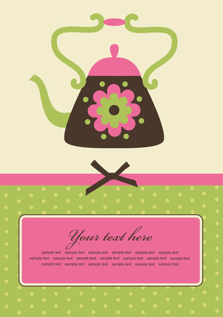 cute card with teapot.  Vector