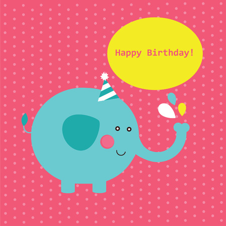 cute happy birthday card.  Vector