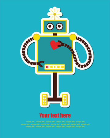 cute robot with heart.  Vector