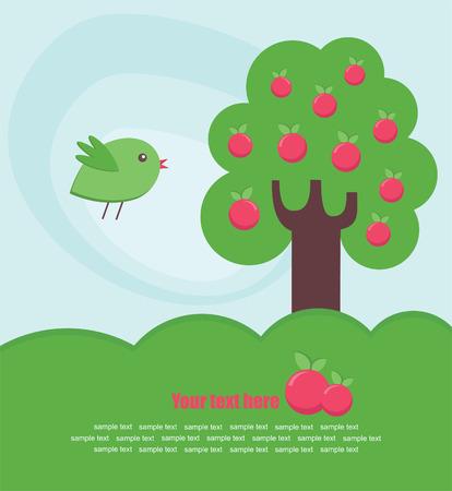 abstract tree and bird card design.  Vector
