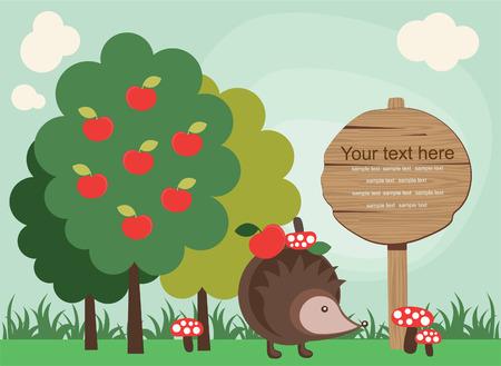 cartoon mushroom: cute fairytale landscape.