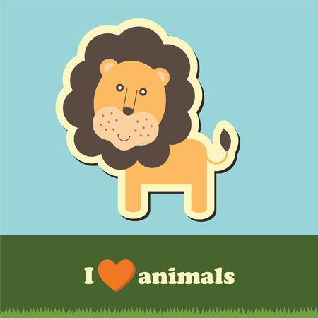 grass cartoon: template frame design for endangered animals, cartoon lion card Illustration