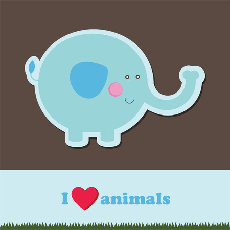 endangered: template frame design for endangered animals, cartoon elephant card