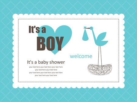baby boy announcement card. Illustration