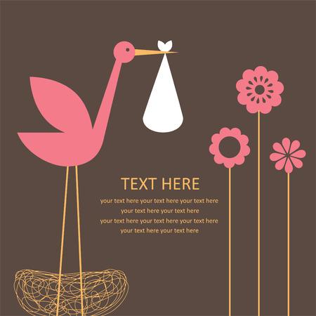 cigogne: bébé fille mignonne carte d'arrivée. Illustration